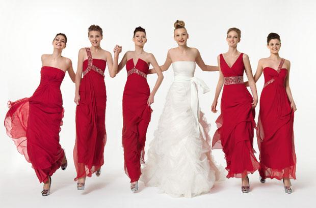 vestidos elegantes para damas de honor rojos